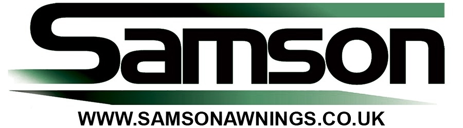 Samson Awnings logo with URL www.samsonawnings.co.uk