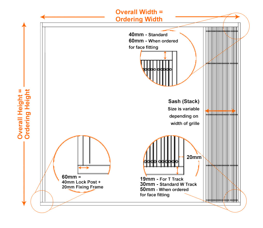 security grille measuring and ordering dimensions