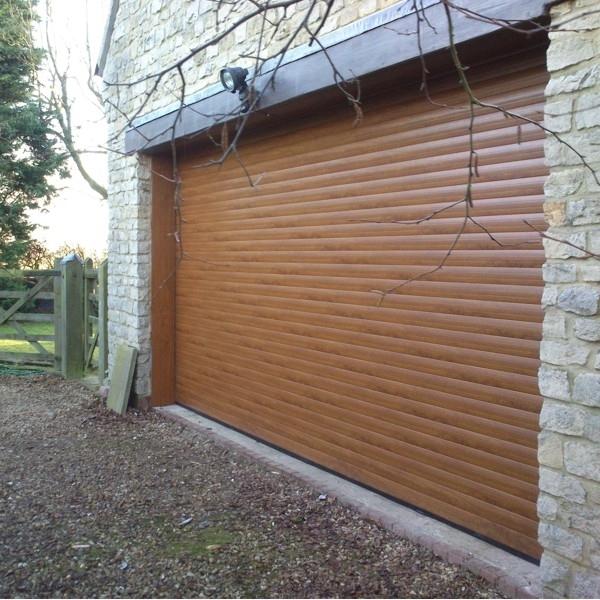 Roller Door With No Hood And Laminate Woodgrain Finish