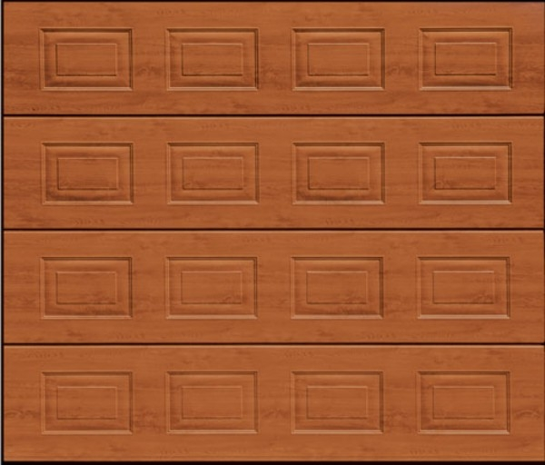 panelled sectional garage door in golden oak