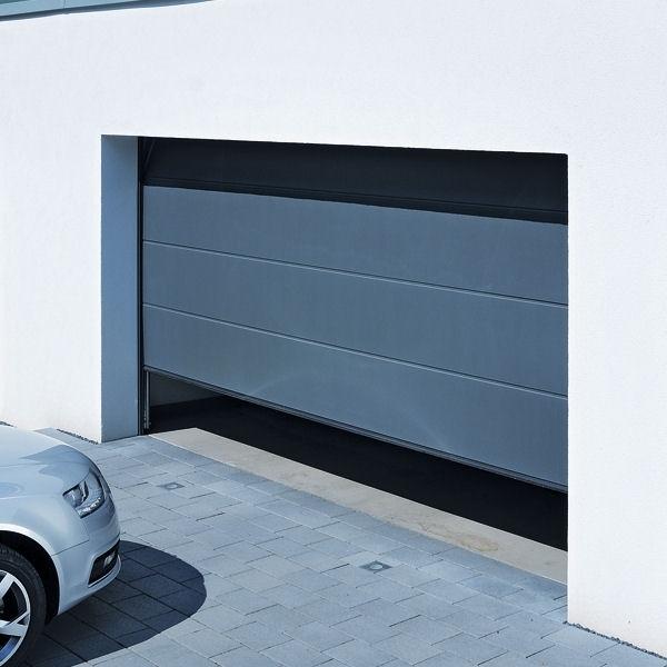 Hormann Sectional L Ribbed Garage Door In Anthracite Grey: LPU42 L Ribbed Titan Metallic CH703 Hormann Steel