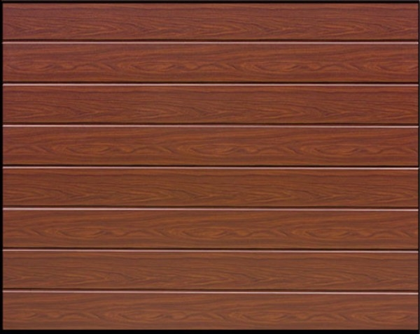 garador linear insulated sectional garage door in rosewood